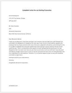 Complaint Letter for not Getting Promotion