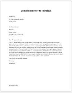 Complaint Letter to School Principal