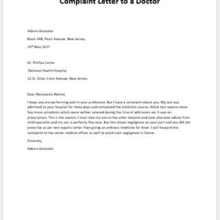 Complaint Letter to a Doctor