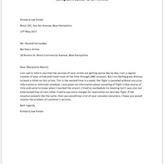 Complaint Letter to an Airline