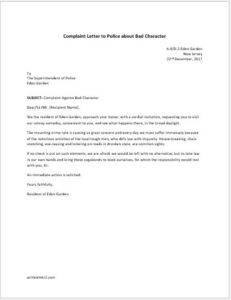 Complaint letter to police about bad character