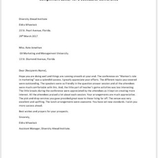 Compliment Letter for a Successful Conference