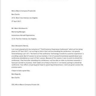Confirmation Letter for Event Attendance