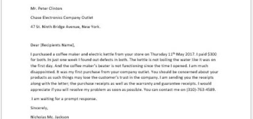 Defective Product Complaint Letter