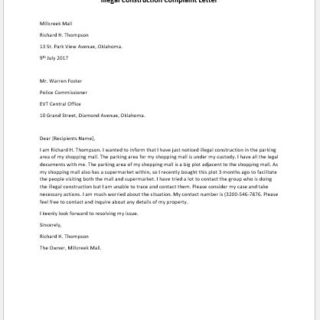 Illegal Construction Complaint Letter