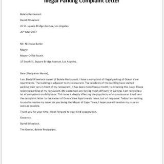 Illegal Parking Complaint Letter
