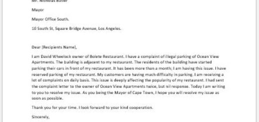 Illegal Parking Complaint Letter