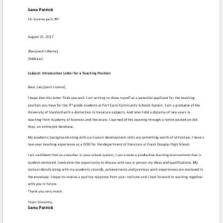 Introduction Letter for a Teaching Position