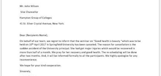 Letter to Cancel Seminar Schedule