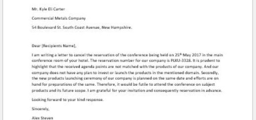 Letter to Cancel a Reservation of a Conference at a Hotel