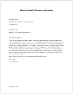 Letter to Cancel or Postpone an Invitation
