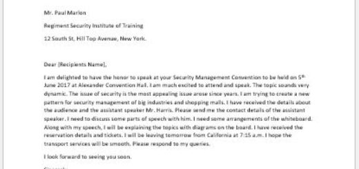 Letter to Confirm Attendance and Talk on a Convention