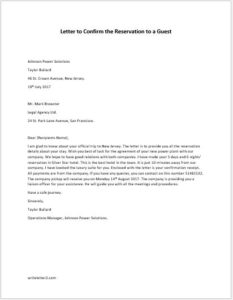 Letter to Confirm the Reservation to a Guest