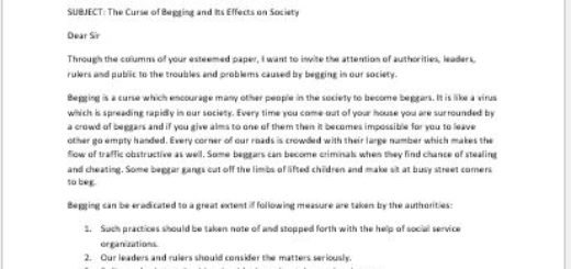 Letter to the Editor of a Newspaper about the Curse of Begging