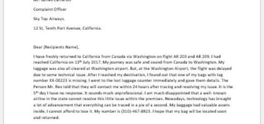Lost Luggage Complaint Letter to Airline
