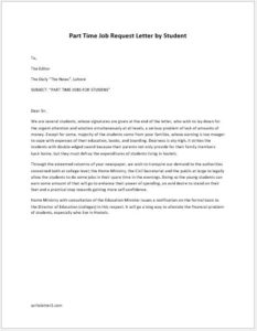 Party Time Job Request Letter by Students