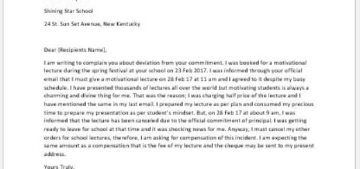 Complaint Letter Seeking Compensation for Missed Lecture