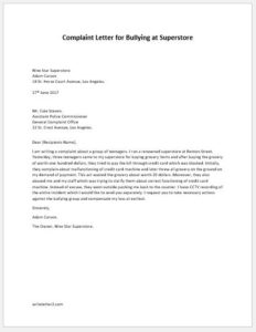 Complaint Letter for Bullying at Superstore