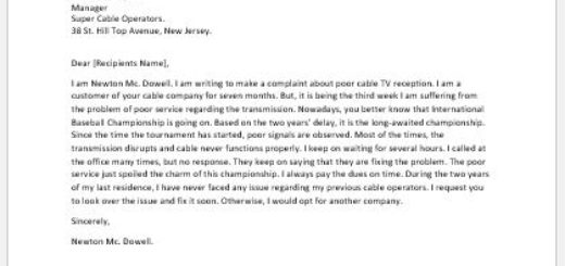 Complaint Letter for Cable TV Reception