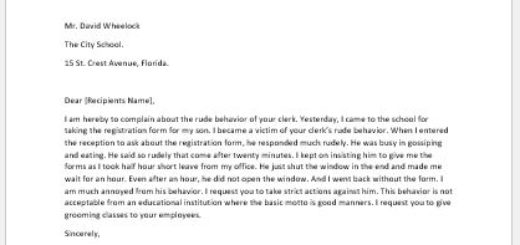 Complaint Letter for Clerk's Rude Behavior