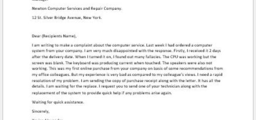 Complaint Letter for Computer Service