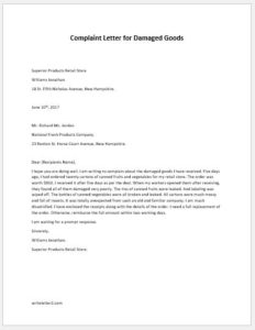 Complaint Letter for Damaged Goods