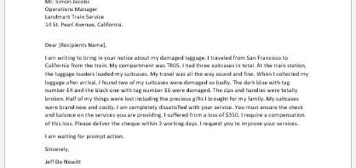 Complaint Letter for Damaged Luggage