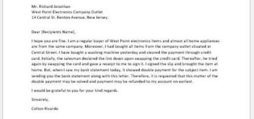 Complaint Letter for Double Payment Charge