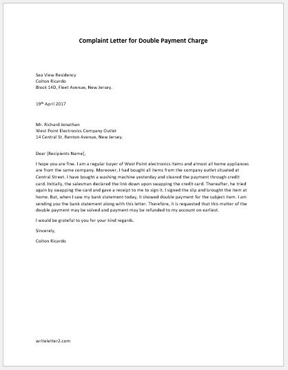Complaint Letter For Double Payment Charge Writeletter2 Com