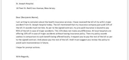 Complaint Letter for Health Insurance Services