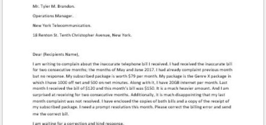 Complaint Letter for Inaccurate Bill