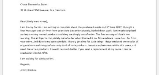 Complaint Letter for New Product Doesn't Work