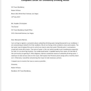 Complaint Letter for Unhealthy Drinking Water