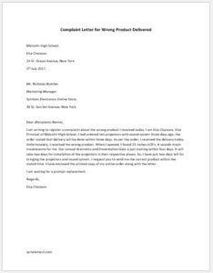 Complaint Letter for Wrong Product Delivered