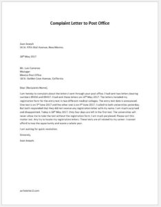 Complaint Letter to Post Office