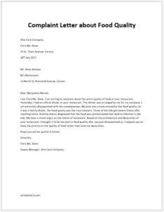 Complaint Letter About Food Quality Writeletter2 Com
