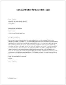 Complaint letter for Cancelled Flight