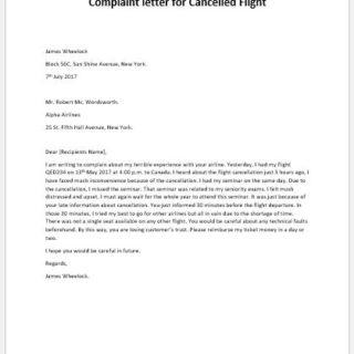Complaint letter for Cancelled Flight