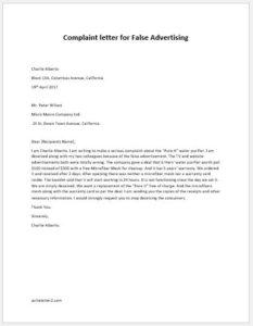 Complaint letter for False Advertising