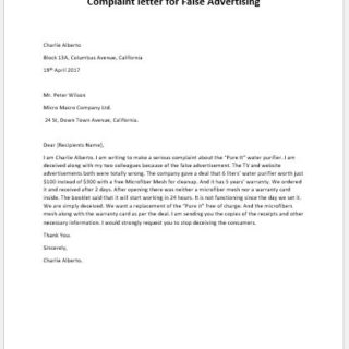 Complaint letter for False Advertising