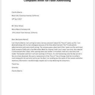 false advertisement complaint letter