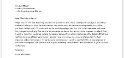 Complaint letter for car repair