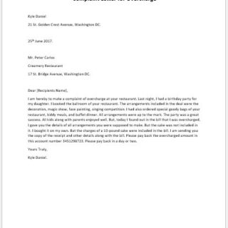 Complaint letter for overcharge