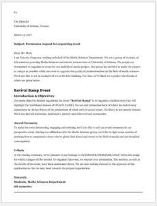 Permission Request Letter to Organise an Event at University