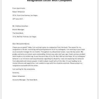 Resignation-Letter-with-Complaint-320x320 Official Resignation And Complaint Letter Template on simple sample, sample teacher, two weeks notice, personal reasons, for kappa,