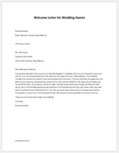 Welcome letter for wedding guest