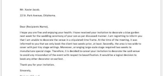 Letter to Cancel an Invitation to Decorate a Venue
