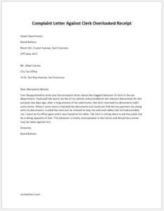 Complaint Letter Against Clerk Overlooked Receipt
