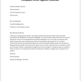 Complaint Letter Against Coworker
