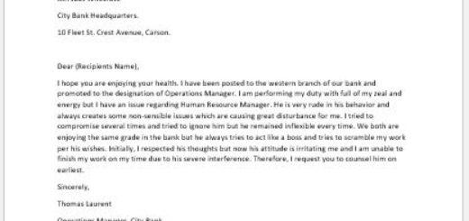 Complaint Letter Against Coworker